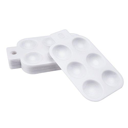 10 Piezas Paleta al Óleo Acuarela de Plástico Bandejas de Pintura con Mango 6 Pozos Rectangular, Blanco