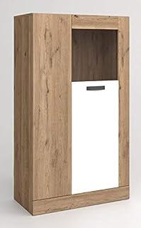 Miroytengo Vitrina Baja Aparador Argos 2 Color Blanco y Naturale 2 Puertas con Cristal Salón Comedor 80x141x40 cm…