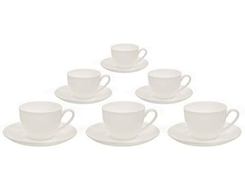 Buchensee Kaffeetassen Set aus Fine Bone China Porzellan. 6 Kaffeetassen je 210ml und 6 Unterteller in fein-cremigem Weiß.
