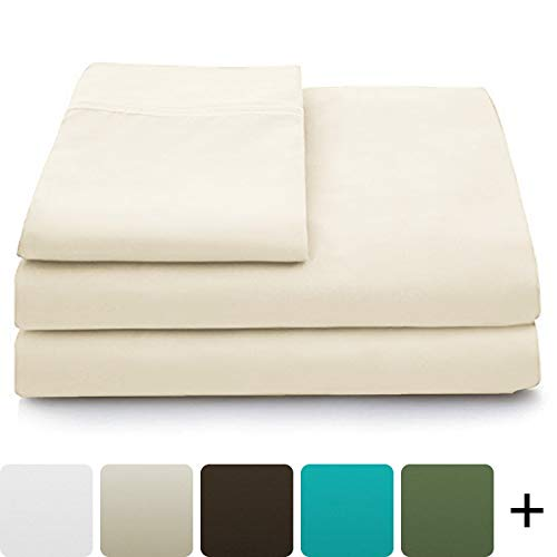 Cosy House Collection Luxury Bamboo Bed Sheet Set  Hypoallergenic Bedding Blend from Natural Bamboo Fiber  Resists Wrinkles  4 Piece  1 Fitted Sheet 1 Flat 2 Pillowcases  Full Cream