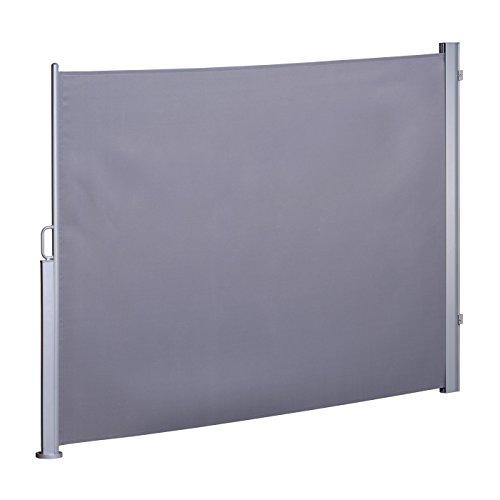 Seitenmarkise Sichtschutz ausziehbar Seitenrollo Sonnenschutz Grau 180 x 300 cm