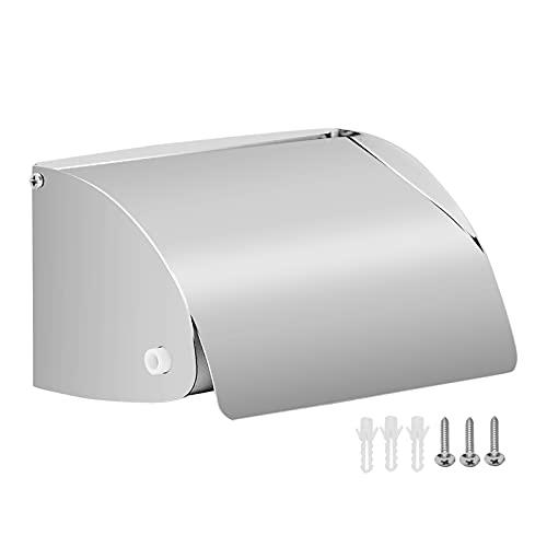Toilet Paper Holder, GIDIBII Stainless Steel Tissue Dispenser, Wall Mount Bathroom Paper Roll Holder, Waterproof, Chrome Finish