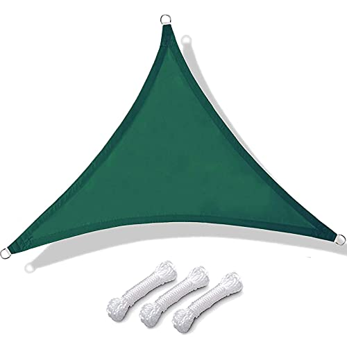 Vela De Sombra Triangular Para Patio Toldos Exterior Terraza Con Cuerda Libre Protección Rayos UV Impermeable Para Patio Exteriores Jardín Balcón (color:Verde oscu(Size:4.5*4.5*4.5m(14.7*14.7*14.7ft))
