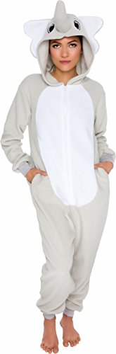 Silver Lilly Slim Fit Animal Pajamas - Adult One Piece Cosplay Elephant Costume (Grey, Small)