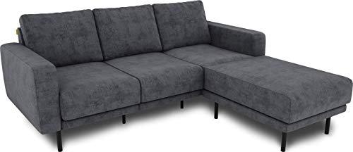 KAUTSCH Mette Dreisitzer Sofa für Wohnzimmer zerlegbar - Couch 3-sitzer - Polstersofa - B 208 cm - Longchair rechts, grau-blau - mit Metallfüße