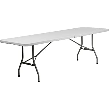 Flash Furniture 30''W x 96''L Bi-Fold Granite White Plastic Folding Table