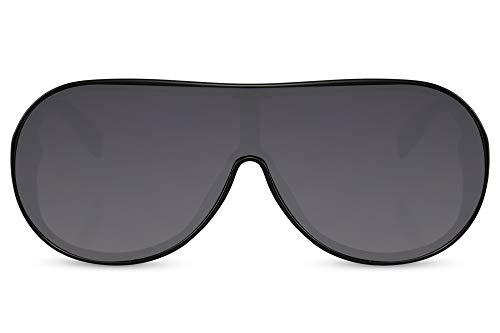 Cheapass Gafas de sol Sunglasses con clase, elegantes, anchas, negras, gafas de sol con faldas laterales gruesas, patillas de metal dorado, protección UV400 para mujeres