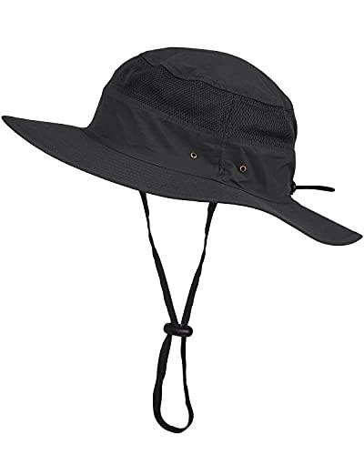 LIVACASA Hut Sommer UV Schutz Sonnenhut Herren Schirmmütze Sommer Fischerhut Atmungsaktiv Faltbar Safari Hut Unisex für Outdoor Schwarz
