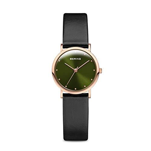 BERING Damen Analog Quarz Classic Collection Armbanduhr mit Kalbsleder Armband und Saphirglas 13426-469