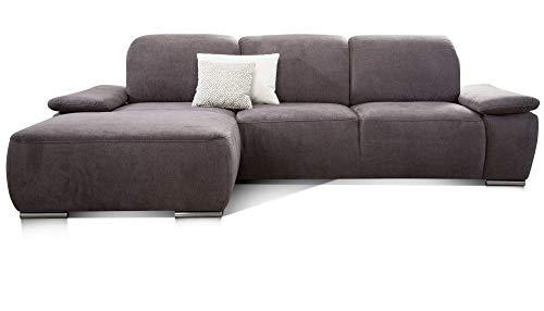 CAVADORE Ecksofa Tabagos / Große Couch mit Longchair links / Modernes Sofa / Sitztiefenverstellung/ Kopfteilverstellung / 283 x 85 x 187 /Grau