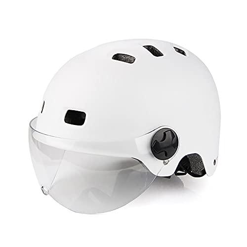 HUSTLE Casco de Bicicleta de montaña Casco de Bicicleta de Carretera Seguridad para Hombres Desmontables Protección UV y Visera Casco de Ciclismo Hombres,Blanco