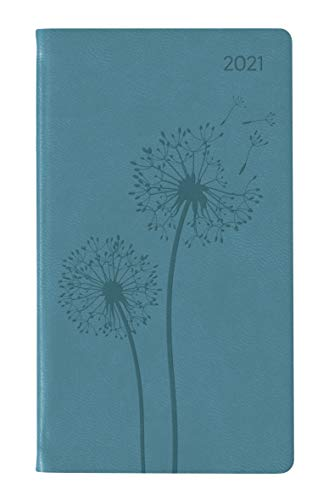 Ladytimer Slim Deluxe Turquoise 2021 - Taschen-Kalender 9x15,6 cm - Tucson Einband - Motivprägung Pusteblume - Weekly - 128 Seiten - Alpha Edition