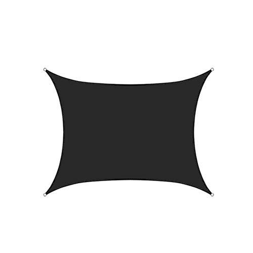 Toldo Vela De Sombra Rectangular Protección Rayos UV, Resistente Impermeable Transpirable para Patio, Exteriores, Jardín, con Cuerda Libre,Negro,6X8m
