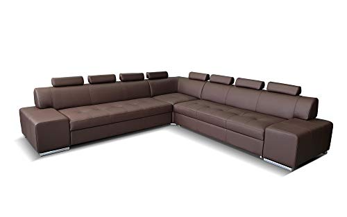 Quattro Meble Echtleder Ecksofa London Pik RE 8z 302 x 302 Sofa Couch mit Schlaffunktion, Bettkasten und Kopfstützen Echt Leder Eck Couch große Farbauswahl