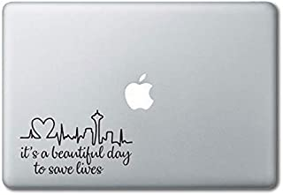 Derek Shepherd Quote It's a Beautiful Day Printed Clear Vinyl Decal Sticker Compatible with Apple MacBook Pro Air 11