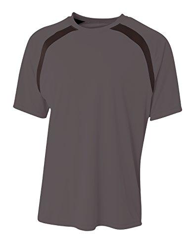 A4 Mens Spartan Short Sleeve Color Block Crew, XL, Graphite/Black