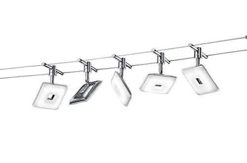 TRIO - Spot Pontius 5 LED - 4,1 W, 3000K, 330 Lm - Corps: métal, chrome - L : 500cm, L:13cm, H:15cm IP20 - Modèle déposé
