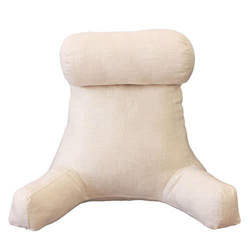 miraculocy Almohada de lectura desmontable, con espuma viscoelástica triturada, bolsillos laterales en el cuello, almohada cómoda, respaldo grande, almohada de lectura con brazos