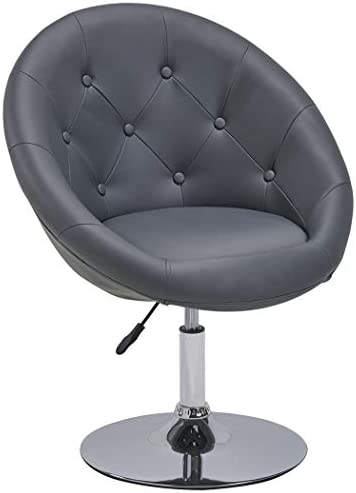 Best Duhome Elegant Contemporary Vanity Accent Lounge Chair Tufted Round Back Adjustable Swivel Cocktail