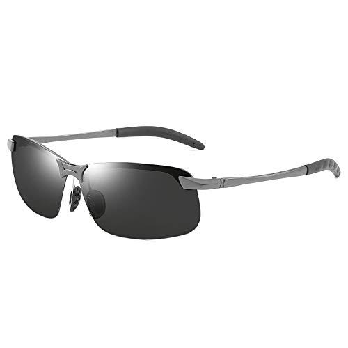 CVMW Gafas de sol polarizantes para hombres, gafas de visión nocturna, gafas de conducción al aire libre que cambian de color de día y noche