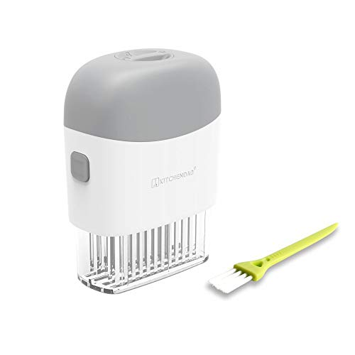 Deluxe Meat Tenderizer Tool with Safety Lock, Detachable for Easy Cleaning, Dishwasher Safe, 48 Ultra Sharp Stainless Steel Needles, Tenderizer Tool for Tender Poultry Pork Chicken Meat- by KITCHENDAO