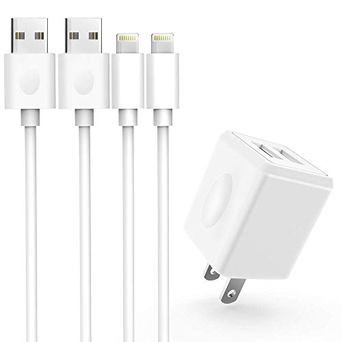 Atizzy iPhone Charger, 2Pack 6ft Fast Charging Data Sync Transfer Lightning Cable with Dual USB Wall Charger Adapter Plug Compatible with iPhone XS Max/XS/XR/X/8/7/6S/6/Plus/SE/iPad (White)