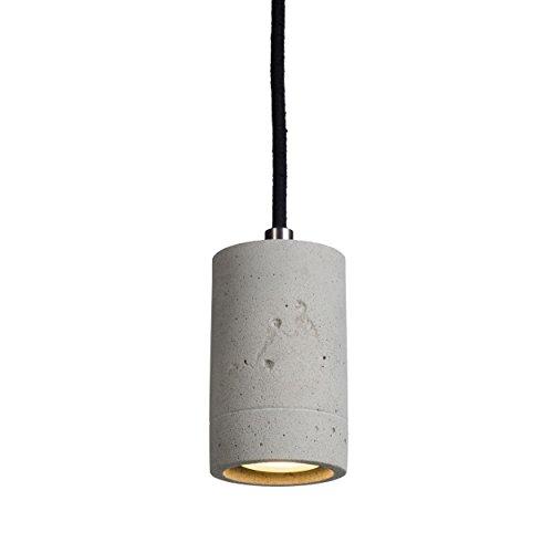 LED Pendelleuchte Beton natur mit dimmbarem GU10 Leuchtmittel in warmweiß 5W Hängeleuchte Betonleuchte mit schwarzem Kabel