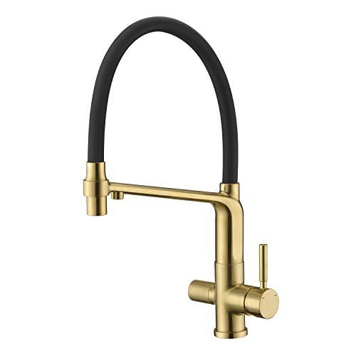 Arputhy 3 Wege Wasserhahn Küchenarmatur Herausziehbar Mischbatterie für Küchenspüle Trinkwasser OsmoseSpültischarmatur Messing mit 360° Drehbar Geschirrbrause (Gebürstet Gold)