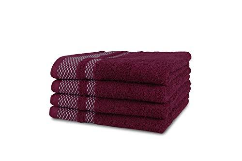 jilda-tex Handtuch Duschtuch Frottierware Set 100% Baumwolle Verschiedene Größen/Farben (2 x Handtuch + 2 x Duschtuch, Beere)