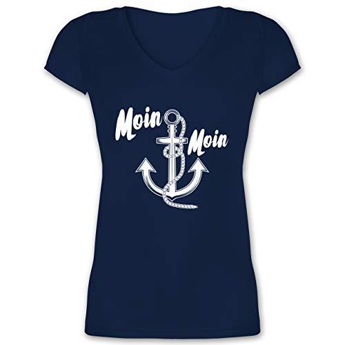 Statement - Moin Moin Anker - XS - Dunkelblau - Anker Tshirt Damen - XO1525 - Damen T-Shirt mit V-Ausschnitt