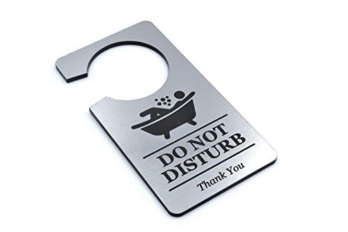 OriginDesigned Silver 'in Bath' - Bathroom in use - Do Not Disturb, Door Sign, Door Hanger Sign. Perfect for use at Home to Stop intruders Whilst Bathing.