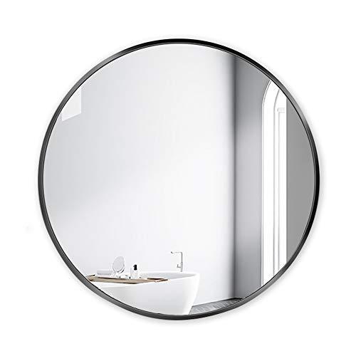MEILISUN Wandspiegel, 600 mm, schwarz, modern, rund, dicker Schwermetall, Wandmontage, schwarzer Metallrahmen, HD-Wandspiegel für Make-up, gebürstetes Metall, schwarzer Spiegel, 2 Haken zum Aufhängen