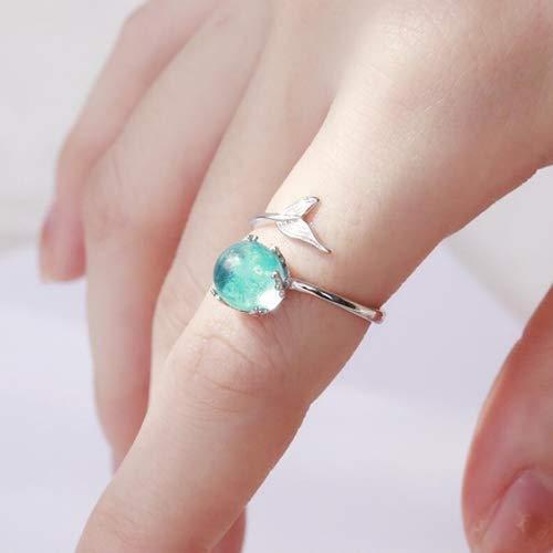 MINGFENG Joyería de Moda Forma de las mujeres de cristal azul forma de sirena anillos abiertos