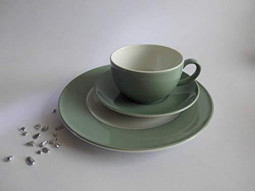 Dibbern Solid Color - Kaffeetasse 0,25 l m. U. + Teller flach 21 cm - salbei - NEU 1.Wahl
