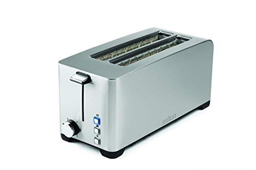 Salton Space Saving Long Slot Electric, 4 Slice Toaster, Silver
