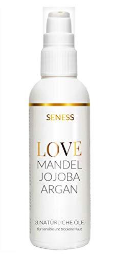 Seness LOVE - Mandelöl, Jojobaöl und Arganöl - 3 natürliche Power Öle für Haare, Haut und Nägel - Vegane Feuchtigkeitspflege - Ideal für empfindliche Haut - Made in Germany