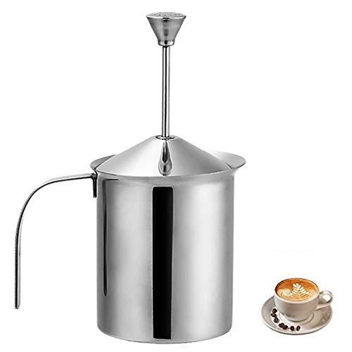Nonebranded Edelstahl Manuelle Milchaufsch Doppel Mesh für Kaffee Edelstahl Handpumpe Milch Mittel Kaffee Cappuccino Foamer Creamer Milchschäumer mit Doppelsieb