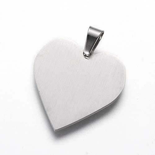 DanLingJewelry 1Pc 304 roestvrij staal stempelen Blanks hart bedeltjes hangers voor ketting armband huisdier ID naam tags DIY handwerk 25x23.5x1.4mm