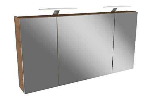 FACKELMANN LED Spiegelschrank 120 cm Tamia/Badschrank mit 3D Effekt/Maße (B x H x T): ca. 120 x 62 x 13,6 cm/Schrank mit Spiegel & LED-Beleuchtung für das Badezimmer / 3 Türen/Korpus: Braun