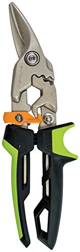 Fiskars Cisaille Aviateur, Coupe à droite, Jusqu'à 40% de puissance en plus, Longueur 24,7 cm, Acier/plastique traité thermiquement, Noir/Vert/Orange, PowerGear, 1027208