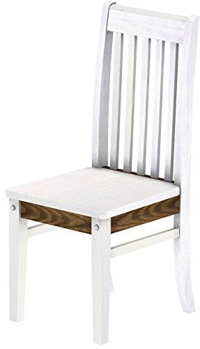 Brasil Furniture Houten stoel, keuze uit verschillende kleuren en kleuren, klassiek, massief hout, houten stoel, woonkamerstoel, leuningstoel, leuning, keukenstoel, landhuis Rustiek Classico 803 Snow Eik