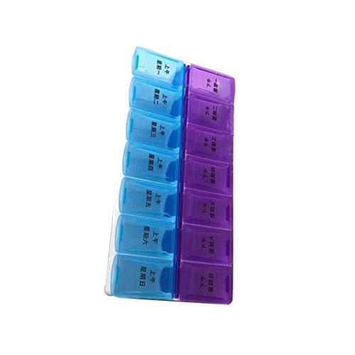 Techting 14 Grids 7-day AM/PM Dual Row Portable Pill Planner Pill case Plastic Organizer Box with Snap Lid for Travel/Home