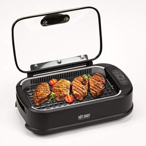 Hot Shot Indoor Electric Smokeless Grill – Indoor/Outdoor Use | Electric, Compact & Portable Grilling | Grill Grate and Griddle Plate - Removable