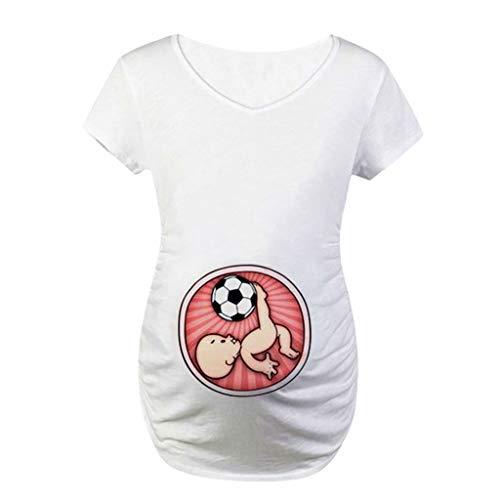 Femme Grossesse Tee Shirt imprimé, Vêtements de maternité, ADESHOP Mode Femme Enceinte Col Rond À Manches Courtes Haut Féminine Été Les Loisirs Slim Élasticité Blouse Tops