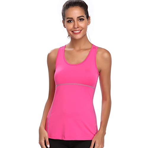 Joyshaper Compression Vest Women Tank Top Quick Dry Fit Sweat Shirt T Shirt Tee Activewear Sleeveless Sports Workout Athletic Fitness Running Hot Pink Medium