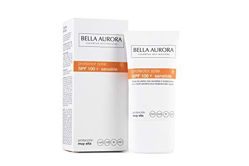 Bella Aurora Protector Solar 100 Facial Anti-Manchas Piel Sensible, 40 ml | Crema Protección del Sol Cara | Bloqueador Solar