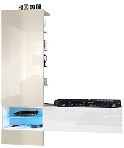 Vladon Wohnzimmer Wohnwand Anbauwand Manhattan, Korpus in Weiß matt/Fronten in Weiß Hochglanz, Paneel in Creme Hochglanz mit LED Beleuchtung