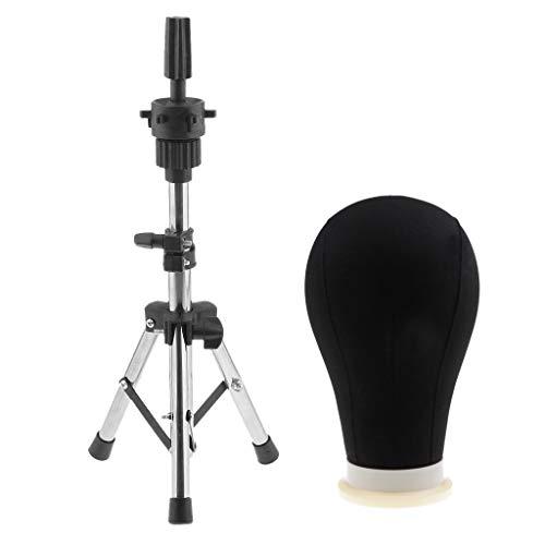 "MERIGLARE Black Canvas Block 24""Mannequin Head Wig Styling W/Display Tripod Holder"