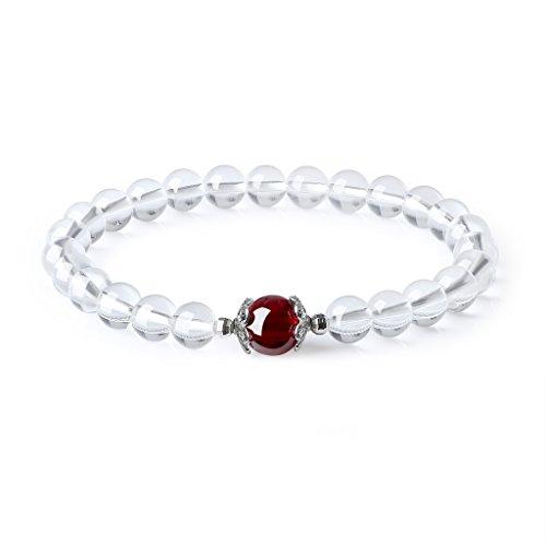 coai Geschenkideen Damen Glücksarmband aus Granat und Bergkristall Reikiarmband von Einfachem Stil
