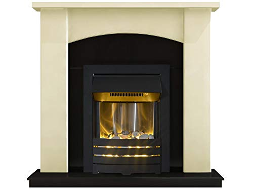 Adam Holden Fireplace Suite in Cream with Helios Electric Fire in Black, 39 Inch
